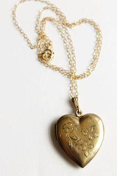 Vintage Heart Locket Necklace Gold Filled Locket Engraved