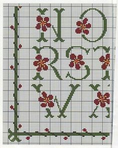 Green Alphabet Sampler Pattern with Red Flowers L 3/4