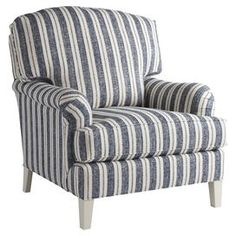 Striped arm chair. Made in the USA.   Product: ChairConstruction Material: FabricColor: White and blueFeatures: Made in the USADimensions: 40 H x 35 W x 38 D