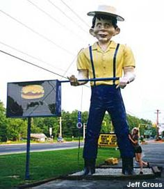 Roadside attraction: Happy Halfwit Muffler Man on Rt 73 E near AC Expressway.  Not near NJ? Don't fret. There are several muffler men around the US. http://usagiants.com/