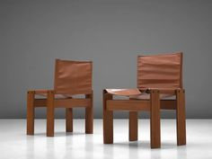 For Sale on 1stdibs - Afra & Tobia Scarpa for Molteni, 6 'Monk' dining chairs, walnut and leatherette, Italy, 1974. The cognac leatherette forms a stunning combination with Leather Dining Room Chairs, Dining Chairs, Walnut Timber, Flat Shapes, Mid Century Chair, Modern Chairs, Chair Design, Side Chairs, Outdoor Chairs