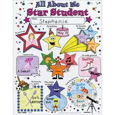 Give students a chance to celebrate their achievements and individuality with this pack of 24 All About Me Star Student Posters from Really Good Stuff®. Classroom Banner, Classroom Decor, Future Classroom, Classroom Organization, Back To School Night, First Day Of School, School Daze, Colorful Bulletin Boards, All About Me Poster