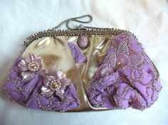 Shop for handbags on Etsy, the place to express your creativity through the buying and selling of handmade and vintage goods. Beaded Purses, Beaded Bags, Purple Lilac, Shades Of Purple, Vintage Accessories, Vintage Jewelry, Couture Embroidery, Inspirations Magazine, Vintage Purses
