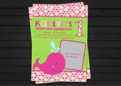 Whale Preppy Girl Birthday Invitation Digital