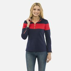 ff9f4ba8072 Sail To Sable French Terry Zip Front Top - Navy