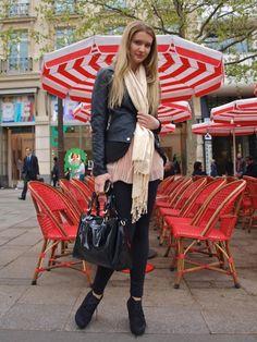 Girl near Cafe in Paris
