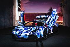 Lamborghini x BAPE Arctic Camo Aventador with Ski Box