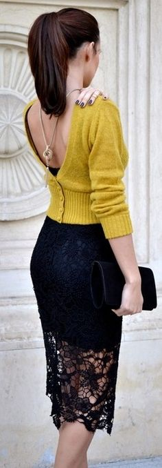 knit and lace...but I kinda think she just put her cardi on backwards. #lace #mustard, #fashion