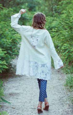 """Купить Жакет """"Ришелье"""" - белый, однотонный, жакет ручной работы, жакет валяный, летнее пальто"""