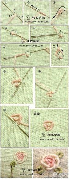 【卷针玫瑰绣刺绣方法】卷针绣(也称绕针绣或缠针绣),这种针法常被用来绣玫瑰或蔷薇。玫瑰绣的绣线要粗一些,若用25号的十字绣线可用3~4股线来绣。在毛衣 或者毛呢衣服上可用细毛线进行刺绣。