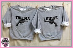 Thelma and Louise Sweatshirts. GUN Image. Set of 2. Unisex Grey Heather. Besties. best friend shirts. badass feminist. Feminism. by pinkboxstudio on Etsy