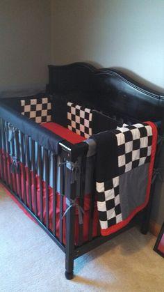Ideas Baby Boy Room Themes Cars Checkered Flag For 2019 Race Car Nursery, Baby Boy Nursery Decor, Baby Boy Rooms, Baby Boy Nurseries, Baby Room, Baby Cribs, Racing Baby, Baby Taylor, Baby Planning