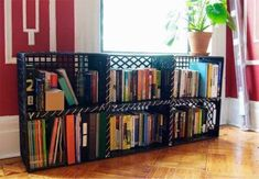 Fun ideas for DIY upcycled milk crate furniture and home decor made from repurposed milk crates. Milk Crate Bench, Milk Crate Shelves, Milk Crate Furniture, Milk Crate Storage, Crate Bookcase, Crate Table, Crate Shelving, Custom Furniture, Plastic Milk Crates