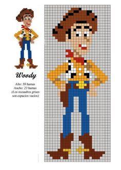 Woody toy story x-stitch hama beads patterns, hama beads design, disney hama Hama Beads Design, Hama Beads Patterns, Loom Patterns, Beading Patterns, Mosaic Patterns, Bracelet Patterns, Embroidery Patterns, Cross Stitch Bookmarks, Cross Stitch Charts