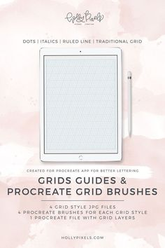Make lettering in Procreate on your iPad Pro much easier with grids. The Holly Pixels Procreate Grids includes four different types of grid/ruled paper styles and Procreate brushes so you can work with the one that best suits your lettering needs. #ipadle