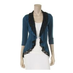 3/4 length cardigan with ruffles ($20) via Polyvore
