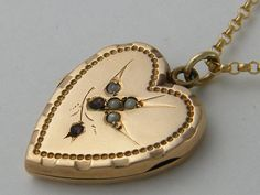C.1910 Edwardian 9CT Gold Antique Locket Garnet Bird Heart Chester Necklace Birthday Wedding Anniversary Gift Jewelry    To see more Antique