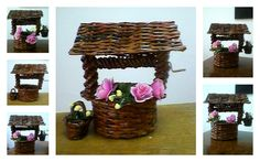 Decorative well with bucket handmade of recycled newspaper, painted with wood stain and protected with clear wood varnish.