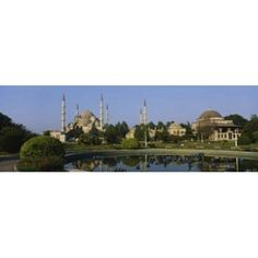 Garden in front of a mosque Blue Mosque Istanbul Turkey Canvas Art - Panoramic Images (36 x 12)