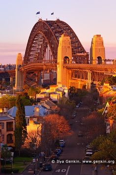 Sydney Harbour Bridge in the Evening from Observatory Hill, Sydney, New South Wales (NSW), Australia. Last light of the setting Sun highlighted the iconic Sydney Harbour Bridge while slightly smoky air from recent bushfires in national parks made nice red, orange and yellow glow at the bridge and houses nearby.