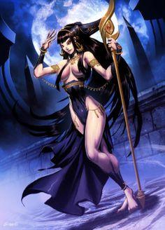 """Hécate, a bruxa-Profundamente misteriosa, ajo mais em função de seus atributos. Meu poder terrível manifesta-se particularmente à noite, à luz bruxuleante da lua, com a qual me identifico. Não raro minhas estátuas representam-me sob a forma de mulher com três corpos e três cabeças. Meu nome, em grego, significa """"a distante"""", mas sou conhecida como a mais próxima de nós, pois se acreditava que, nas noites de lua nova, eu aparecia com sua horrível matilha de cachorros fantasmas..."""