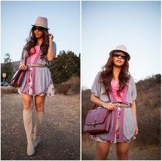 Forever 21 Fedora Hat, Nordstrom Cardigan, Target Bag, Forever 21 Skirt, Isaac Mizrahi Boots
