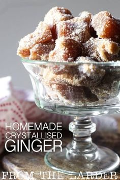 Homemade Crystallised Stem Ginger (or Candied Ginger) is a spicy treat. Excellent as a little nibble with some coffee, an adornment to baked goods or given away as a beautiful sparkly gift. Fudge Recipes, Candy Recipes, Raw Food Recipes, Holiday Recipes, Cooking Recipes, Christmas Recipes, Cooking Ideas, Food Ideas, Gluten Free Treats