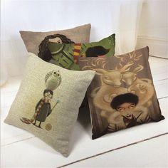 3.29$  Buy here - Decorative throw pillows case cute cartoon harry potter cotton linen cushion cover for sofa home decor funda cojines 45x45cm   #SHOPPING