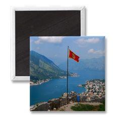 Boka Kotorska in Montenegro Square Magnet $3.95