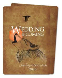 Wedding coming (PRV-251) wedding-invitation available from planet-cards.co.uk. A fun fantasy filled wedding invitation inspired by the TV show Game of Thrones. #gameofthrones #fantasywedding #weddinginvitations