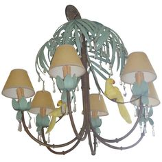 Whimsical Parrot and Palm Tree Motiffe Chandelier | From a unique collection of antique and modern chandeliers and pendants  at http://www.1stdibs.com/furniture/lighting/chandeliers-pendant-lights/