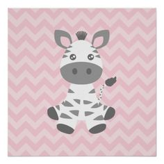 An adorable kawaii style baby zebra has grey stripes and sweet big eyes. He's on a background of pink zigzags.
