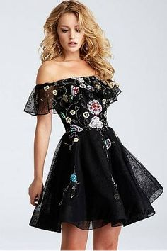 Black Multi Off The Shoulder Fit and Flare Short Dress 54430