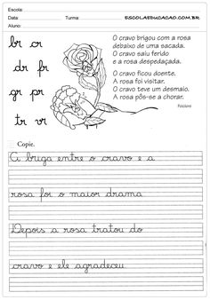 Atividade de caligrafia br cr dr fr gr pr tr vr Cursive Handwriting, Handwriting Worksheets, Pre K Activities, Kids English, Student Life, I School, Reading Comprehension, Teaching Resources, Father