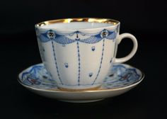 LOMONOSOV Made in USSR Demi Tasse Small Tea Cup Saucer Set, Blue White Red Gold