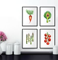 This is an art print of my original watercolor painting of Asparaguses.  Make use of the BUY 2 GET 1 FREE deal to get a nice set! • Purchase 2 prints