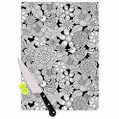 "KESS InHouse Julia Grifol ""Welcome White Birds"" Black Floral Cutting Board, 11.5 by 8.25"", Multicolor Kess InHouse http://www.amazon.com/dp/B01448G7SW/ref=cm_sw_r_pi_dp_RRc2vb1J1MEJQ, black #white#birds #cutting board #kitchen #kessinhouse #pattern #print"