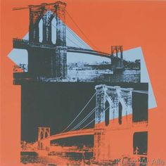Andy Warhol - Brooklyn Bridge, 1983 (black, red, blue)