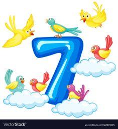 Seven birds on number Royalty Free Vector Image Numbers Preschool, Math Numbers, Preschool Worksheets, Letters And Numbers, Preschool Activities, Display Boards For School, Number Vector, Train Vector, Flashcards For Kids