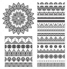 Mehndi Indian Henna Tattoo Seamless Pattern Stock-Vektorgrafik (Lizenzfrei) 277911125 - New Site Art Lessons, Mandala Art, Art Drawings, Drawings, Doodle Art, Mandala, Zentangle, Art, How To Draw Hands