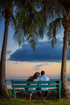 Sunset Engagement on bench with Palm Trees and sunset
