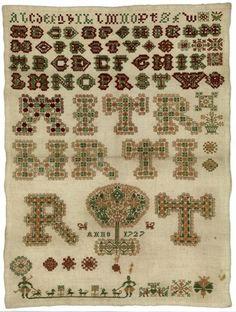 Merklap Maakster: R.T. Vervaardigingsdatum: 1727Afmeting: 44.0 x 33.0 cmPlaats vervaardiging: Workum