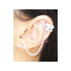 Pink Rhinestone Hello Kitty Flower Chain Double Piercing Earring ($11) ❤ liked on Polyvore