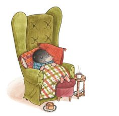 Amy Adele @AmyAdeleillo on Twitter shared.... painted a couple of weeks back,Mr Mole snuggling up for an autumn eve..@Clr_Collective #colour_collective #greengold  ♥≻★≺♥