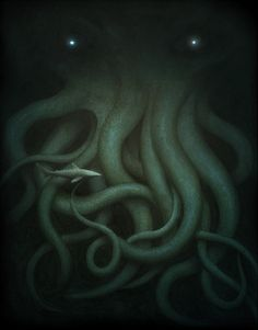 Cthulhu by Jeremy Enecio Acrylic on paper, 11 x 14 poster art for the H.Lovecraft tribute show at Gallery Nucleus Hp Lovecraft, Lovecraft Cthulhu, Cthulhu Art, Arte Horror, Horror Art, Dark Fantasy, Fantasy Art, Fantasy Posters, Lovecraftian Horror