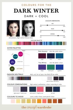 If you have just discovered that you are a Dark Winter in the seasonal colour analysis, find out which colours look best on you. Paleta Deep Winter, Deep Winter Palette, Cool Winter Color Palette, Deep Winter Colors, Dark Autumn, Dark Winter, New York Winter, Cool Skin Tone, Cool Tones