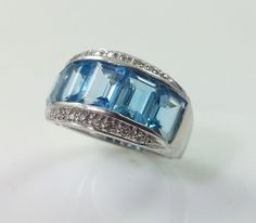 $299 *** Blue Topaz and Diamond Ring in White Gold #rings