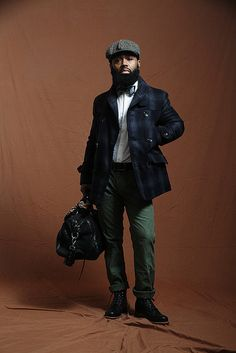 Black and Blue Plaid Wool Jacket, and Black Leather Duffle Bag, via The Brooklyn Circus. Men's Fall Winter Fashion.
