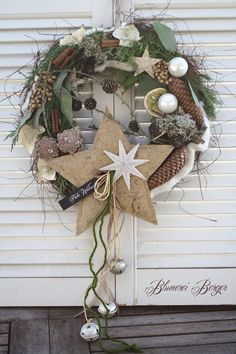 The place to buy and sell everything that is handmade - Durchmesser 36 cm. Christmas Door Decorations, Christmas Wreaths, Christmas Crafts, Holiday Decor, Advent Wreath, Grapevine Wreath, Burlap Wreath, Rustic Christmas, Christmas Time