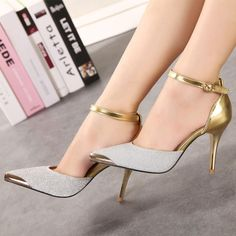FSJshoes -  FSJ Shoes Silver and Gold Sparkly Heels Ankle Strap Double D  c1e91f13c3f6